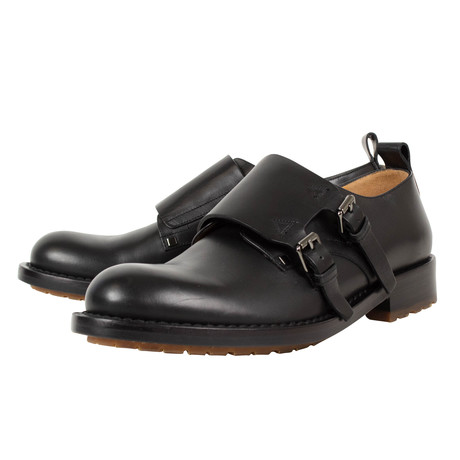 Valentino // Double Monkstrap Leather Dress Shoes // Black (US: 10)