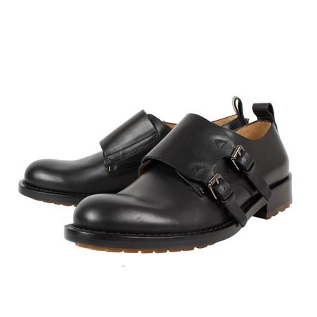Valentino // Double Monkstrap Leather Dress Shoes + Dust Bag // Black (US: 10)