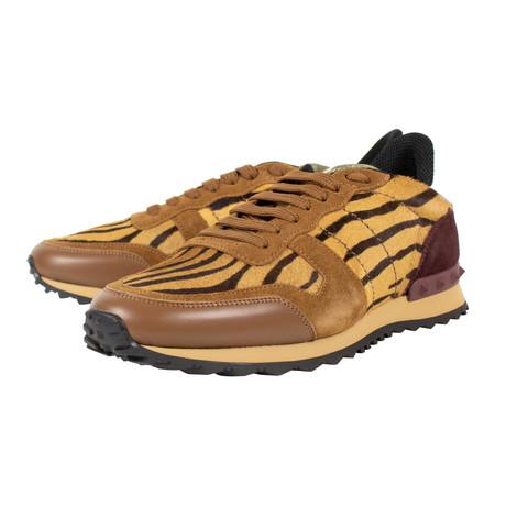 Valentino // Tiger Print Rockstud Suede Sneakers // Multi-Color (US: 10)