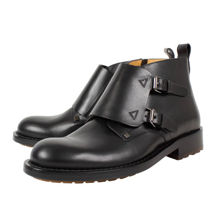 Valentino // Double Monk Strap Leather Ankle Boots // Black (US: 10)