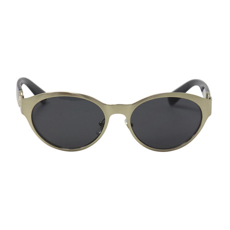 Versace // Round Metal Gold Sunglasses // Brushed Pale Gold + Gray