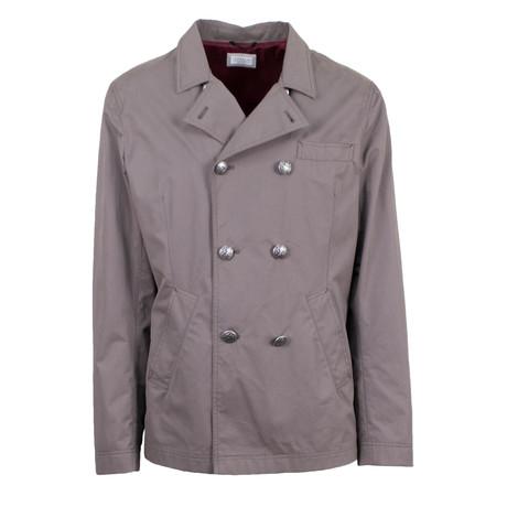 Brunello Cucinelli // Microfiber Peacoat Rain Jacket // Tan (S)