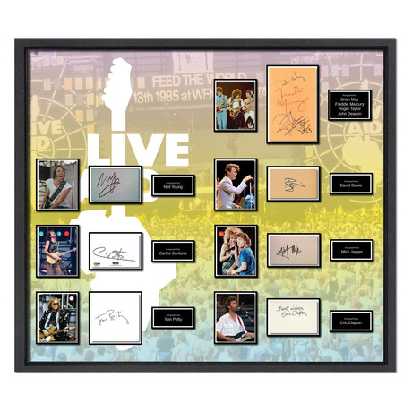 Signed + Framed Signature Collage // Live Aid
