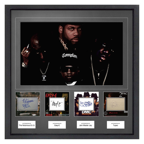 Signed + Framed Signature Collage // Gangster Rappers: Tupac Shakur, Snoop Dogg, Biggie Smalls, Eazy-E