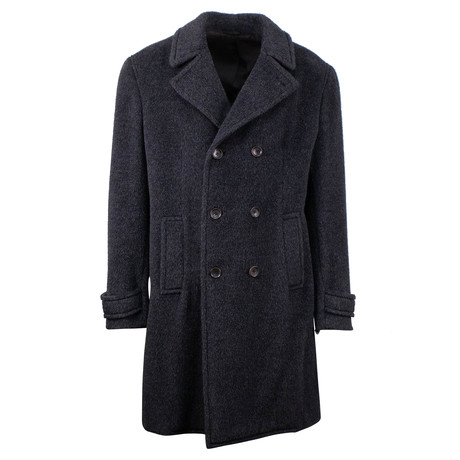 Belvest // Wool Blend Double Breasted Coat // Gray (Euro: 48)
