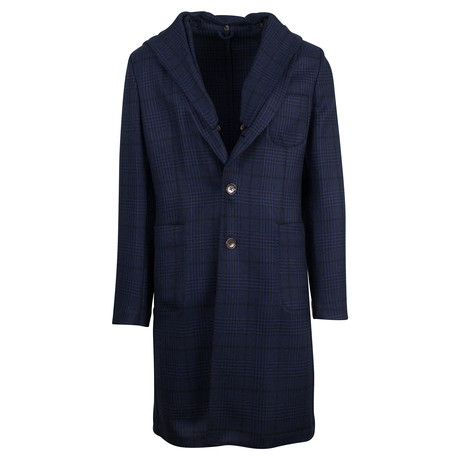 Belvest // Plaid Wool Full Length Hooded Coat // Blue (Euro: 48)