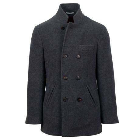 Double Breasted Hidden Zip Overcoat // Gray (Euro: 48)