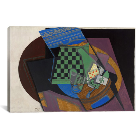 """Damier et Cartes a Jouer (Checkerboard + Playing Cards) (18""""W x 26""""H x 0.75""""D)"""