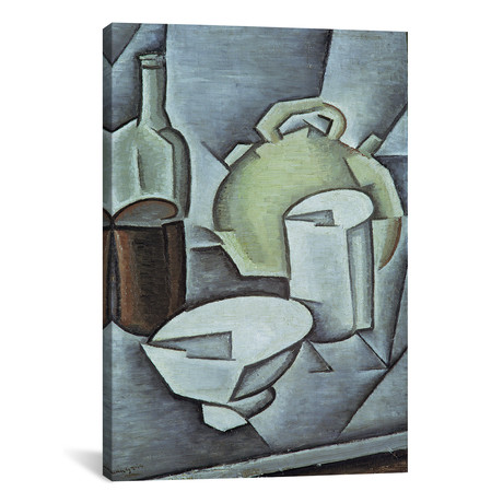 """Still Life with a Bottle of Wine + an Earthenware Water Jug (26""""W x 18""""H x 0.75""""D)"""