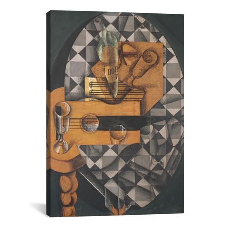 """Guitar, Bottle, + Glass // 1914 (26""""W x 18""""H x 0.75""""D)"""