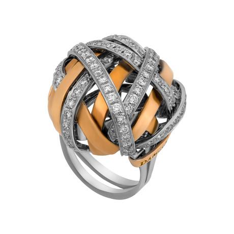 Damiani 18k White Gold + 18k Rose Gold Diamond Ring // Ring Size: 7