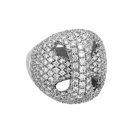 Damiani 18k White Gold Diamond Ring // Ring Size: 7
