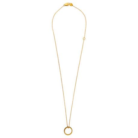 "Damiani 18k Yellow Gold Diamond Pendant // Chain: 19"""