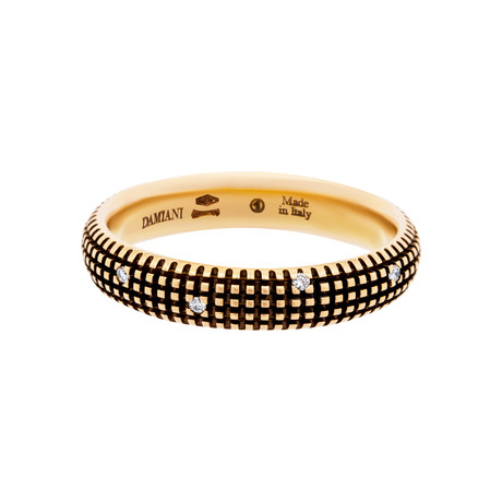 Damiani 18k Black Gold + 18k Rose Gold Diamond Ring I // Ring Size: 10
