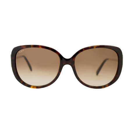 Tod's // Women's Rectangle Sunglasses // Tortoise + Brown Gradient