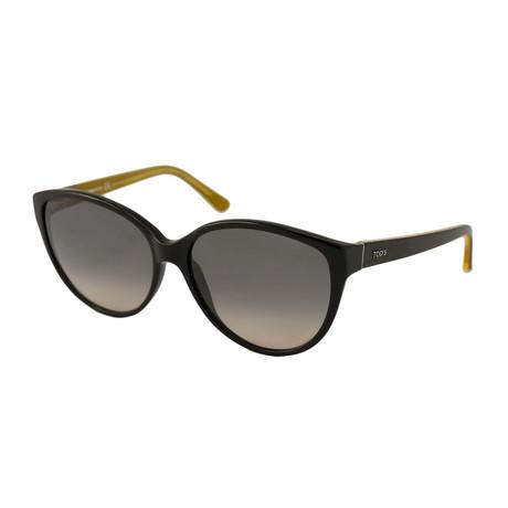 Tod's // Women's Cat Eye Sunglasses // Black + Grey Gradient