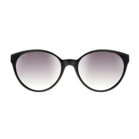 Tod's // Women's Round Sunglasses // Black + Grey Gradient