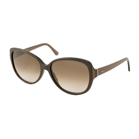 Tod's // Women's Large Square Sunglasses // Brown + Brown Gradient