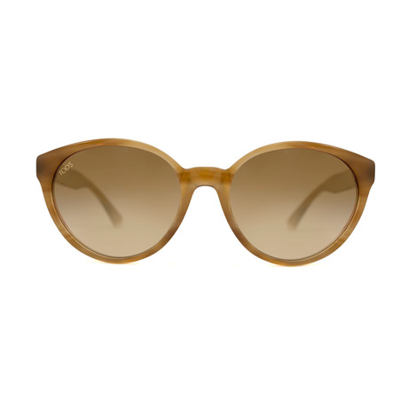 Tod's // Women's Round Sunglasses // Light Brown Stripe + Brown Gradient