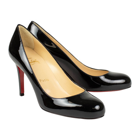 Women's // Simple 85mm Patent Leather Pumps // Black (Euro: 40)