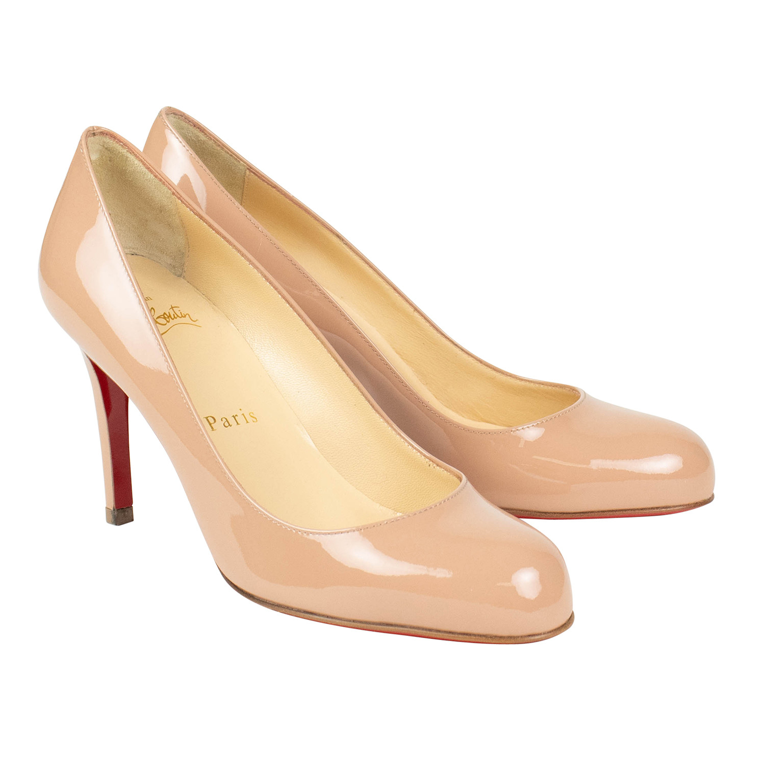 caa36636c4d Women's // Simple 85mm Patent Leather Pumps // Nude (Euro: 36 ...