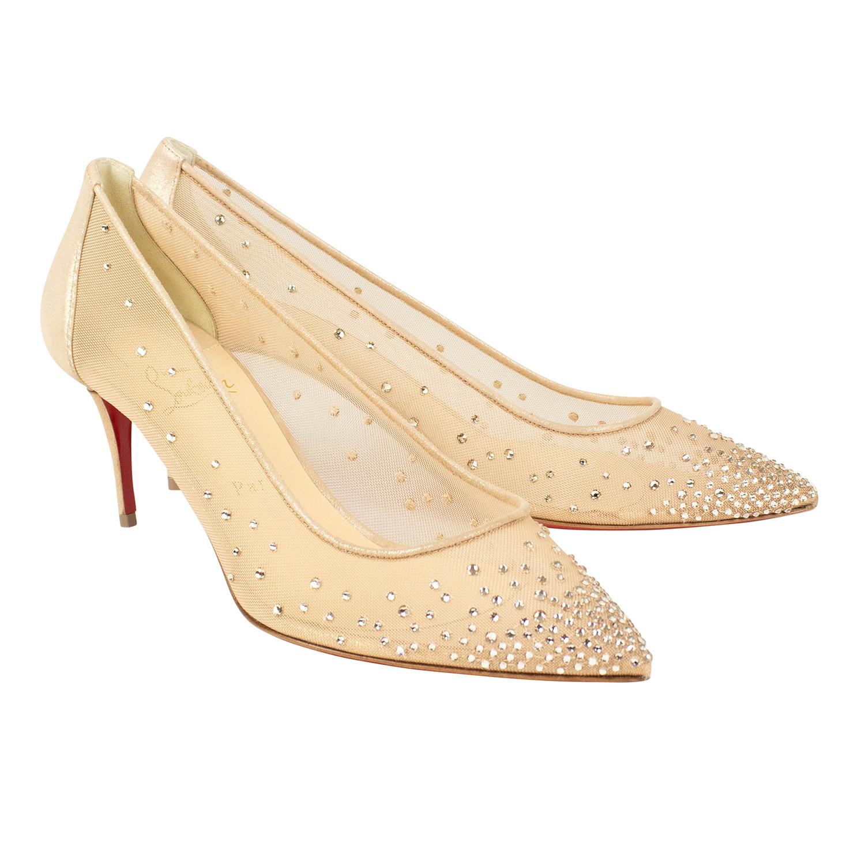 46c9b27885b Women's // Follies Strass 70mm Heels // Beige (Euro: 40) - Christian ...