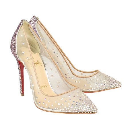 Women's Follies Strass 100mm Glitter Heels // Beige (Euro: 40)