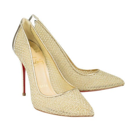 Women's Follies Resille Mesh 100mm Heels // Gold (Euro: 40)