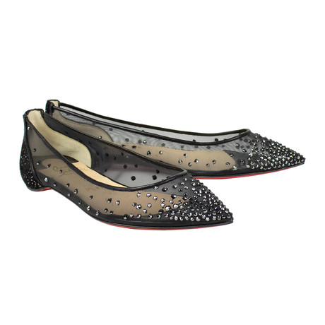 Women's // Follies Strass Black Flats // Black (Euro: 40)