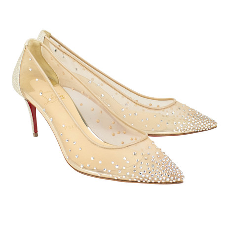 Women's // Follies Strass 70mm Sparkly Heels // Beige (Euro: 40)