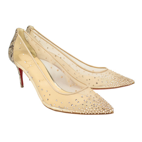Women's // Follies Strass 70mm Glitter Heels // Beige (Euro: 40)