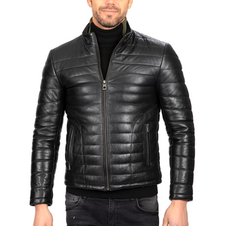 Puffed Leather Jacket // Black (S)