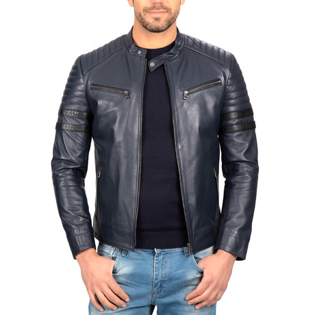 Classic Zip-Up Leather Jacket // Blue (S)