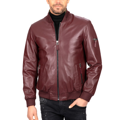 Bomber Leather Jacket // Bordeaux (S)