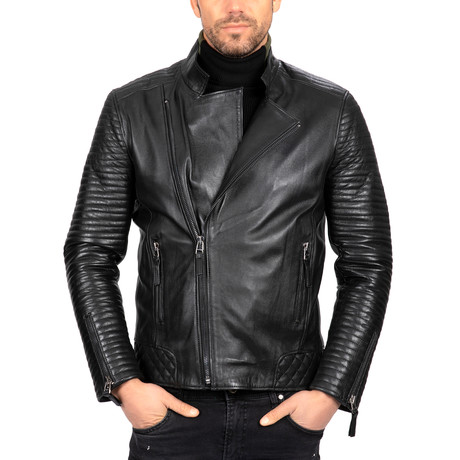 Moto Ribbed Sleeve Leather Jacket // Black (S)