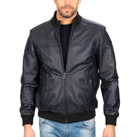 Bomber Leather Jacket // Navy (S)