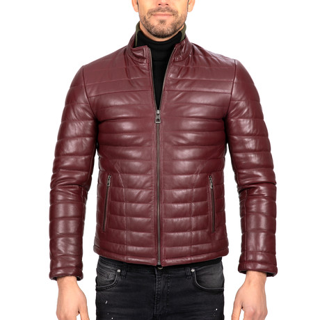 Puffed Leather Jacket // Bordeaux (S)