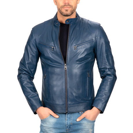Classic Fit Leather Jacket // Blue (S)