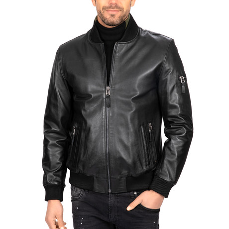 Relaxed Bomber Leather Jacket // Black (S)