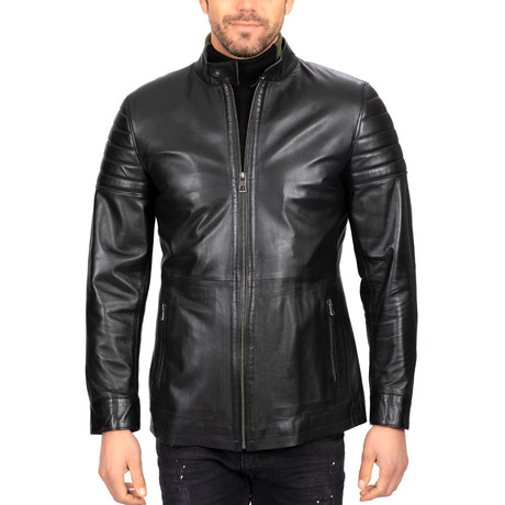 Fitted Zip-Up Leather Jacket // Black (S)