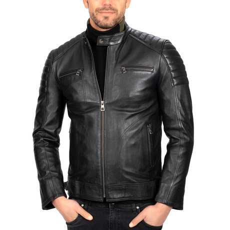 Fitted Classic Leather Jacket // Black (S)