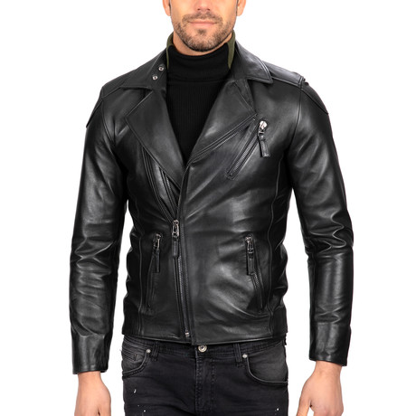 Asymmetrical Zip-Up Moto Leather Jacket // Black (S)