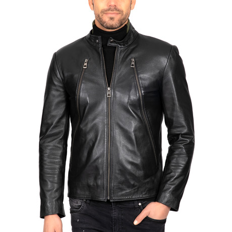 Fitted Motorcycle Leather Jacket // Black (S)