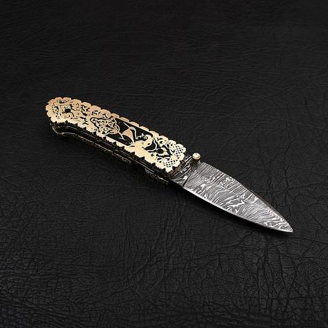 Damascus Liner Lock Folding Knife // 2695