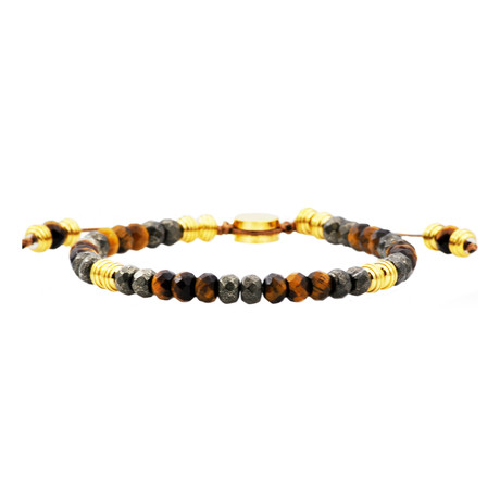 Pyrite + Tiger's Eye Drawstring Bead Bracelet // Brown + Gold
