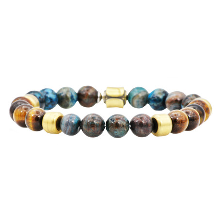 Tiger's Eye + Crazy Lace Bead Bracelet // Brown + Blue