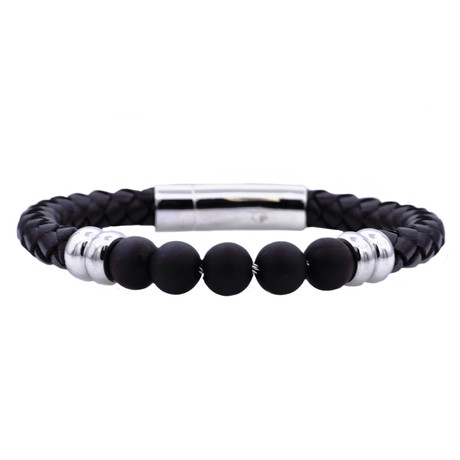 Leather + Bead Bracelet // Onyx