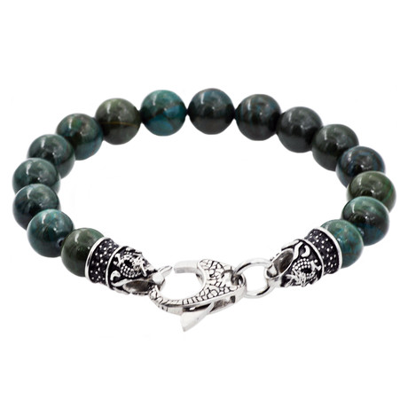 Apatite Bead Lobster Clasp Bracelet // Green + Steel