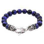 Tiger's Eye Bead Lobster Clasp Bracelet // Blue + Steel