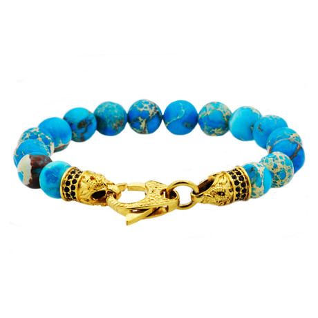 Sea Sediment Jasper Bead Lobster Clasp Bracelet // Turquoise + Gold
